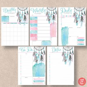 Dreamcatcher Printable Planner by Stick with Sam. Monday Start. 601.