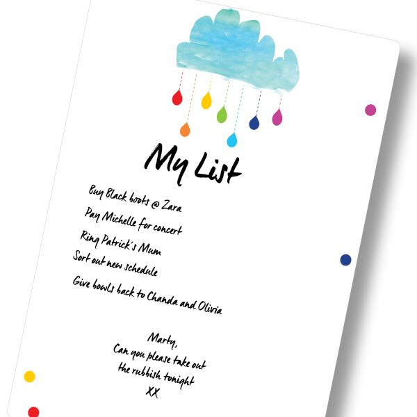 Magnetic Dry Erase Board Planner A3 Clouds and Rainbows