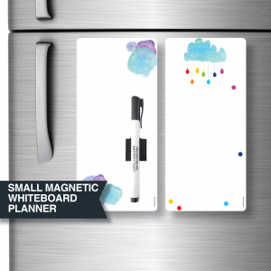 Small magnetic whiteboard planners by Stick with Sam. Blue watercolour and Rain Clouds.