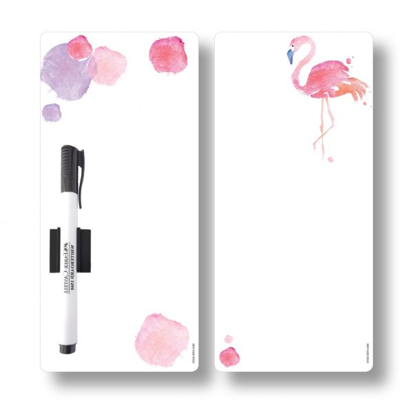 Small magnetic fridge whiteboard planners by Stick with Sam. Pink watercolour and Flamingo.