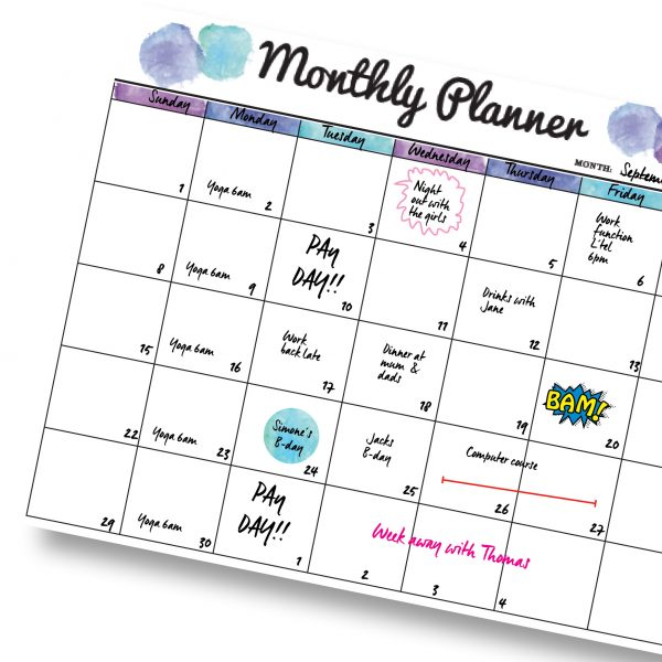 Blue Monthly Planner A3 Magnetic Whiteboard by Stick with Sam
