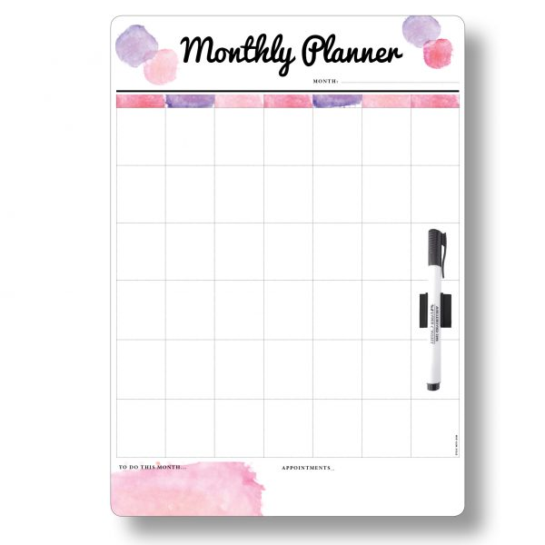 Pink Monthly Planner A3 Magnetic Whiteboard by Stick with Sam