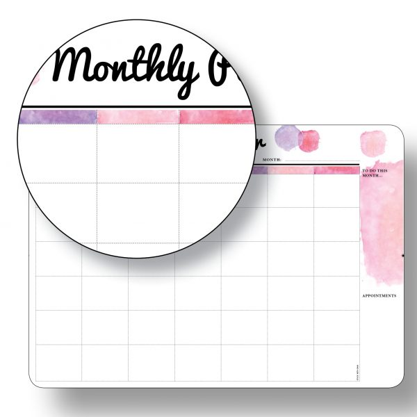 A3 Pink Monthly Planner - Magnetic Whiteboard by Stick with Sam