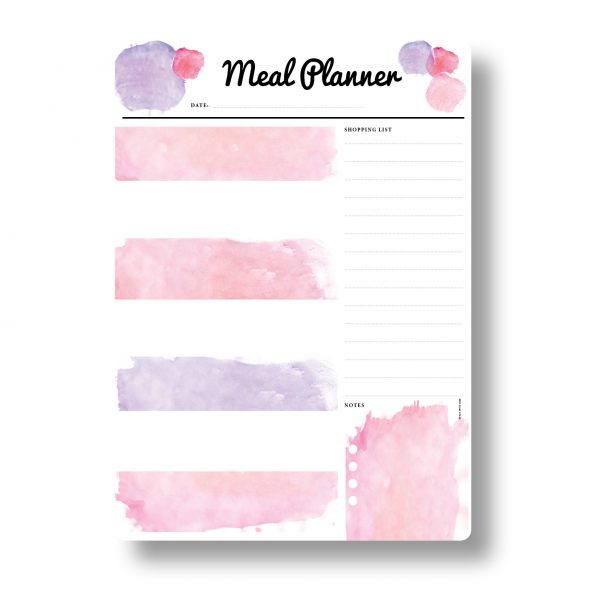 Pink Meal Planner A3 Magnetic Whiteboard by Stick with Sam