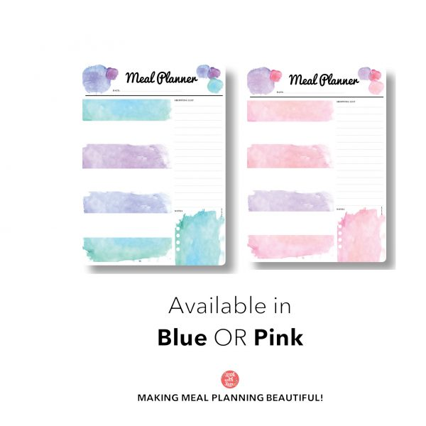 Pink & Blue Meal Planner A3 Magnetic Whiteboard by Stick with Sam