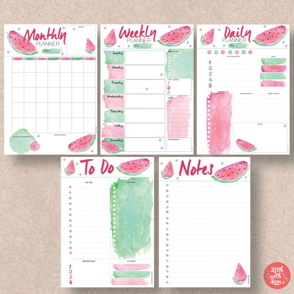 Watermelon Instant Printable Planner by Stick with Sam. Sunday Start and Global sizes.