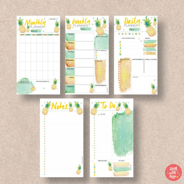 Pineapple printable planner by Stick with Sam. Sunday start and Personal size.