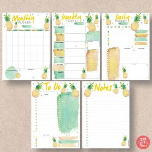Pineapple printable planner by Stick with Sam
