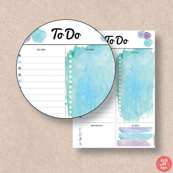 Blue Watercolour To Do Printable Planner by Stick with Sam in A4, A5, Letter, Half page and Personal sizes.