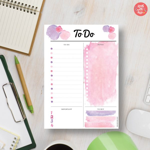 Pink Watercolour Printable Planner by Stick with Sam in A4, A5, Letter, Half page and Personal sizes.