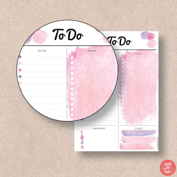 Pink Watercolour To Do Printable Planner by Stick with Sam in A4, A5, Letter, Half page and Personal sizes.