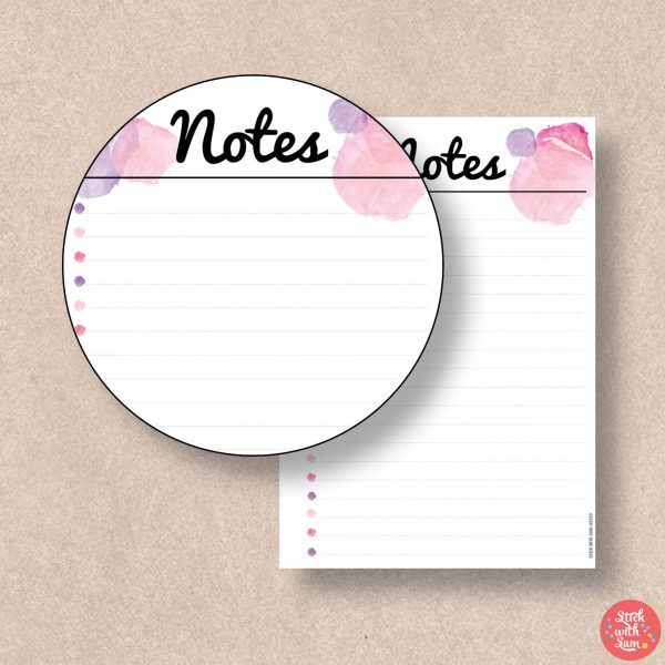 Pink Watercolour Notes Printable Planner by Stick with Sam.
