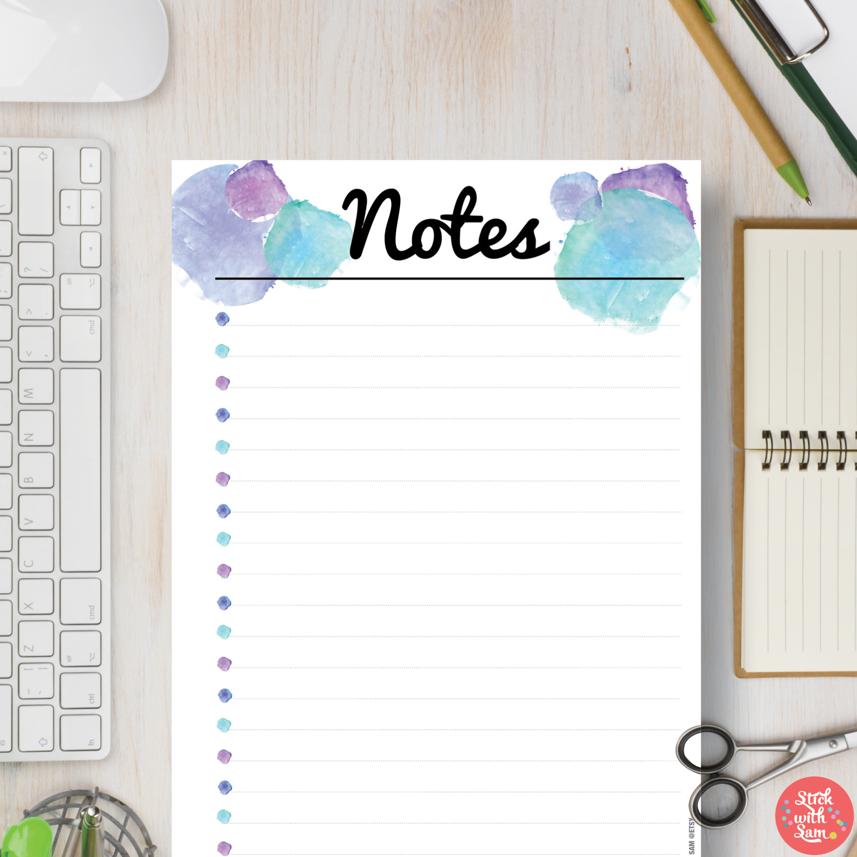 image about Notes Printable called Blue Watercolour Notes Printable Planner