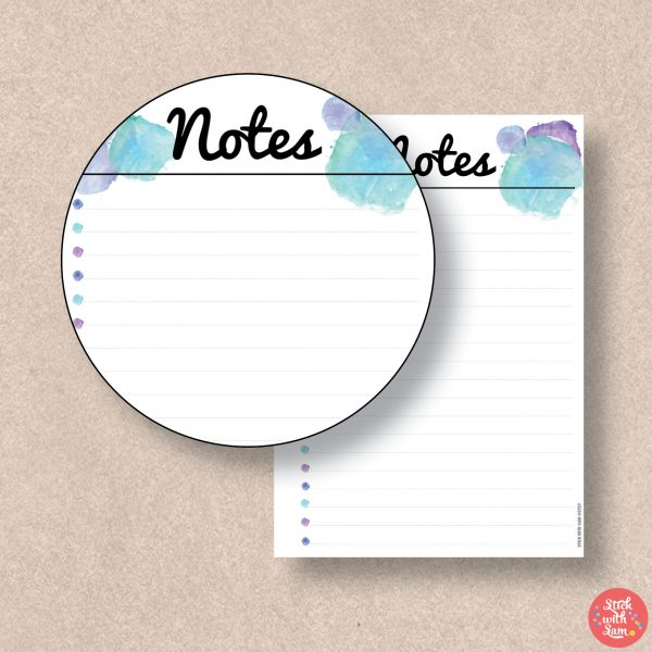 Blue Watercolour Notes Printable Planner by Stick with Sam