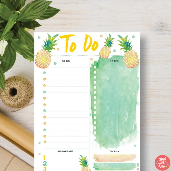 Pineapple To Do Printable Planner by Stick with Sam in A4, A5, Letter, Half page and Personal sizes.