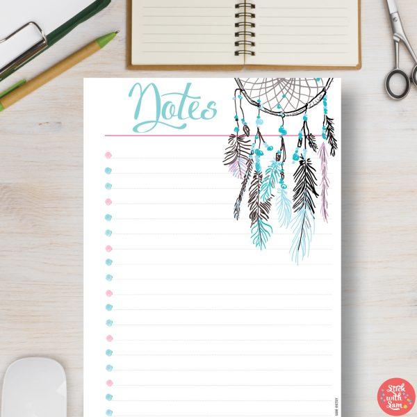 Dreamcatcher Notes Printable Planner by Stick with Sam. A5, A4, Half Letter and Letter sizes. 581.