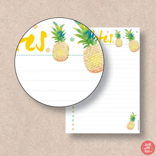 Pineapple Notes Printable Planner by Stick with Sam - available in Global sizes: A4, A5, Letter and Half Letter.