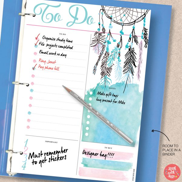 Dreamcatcher To Do Printable Planner by Stick with Sam in A4, A5, Letter, Half page and Personal sizes.