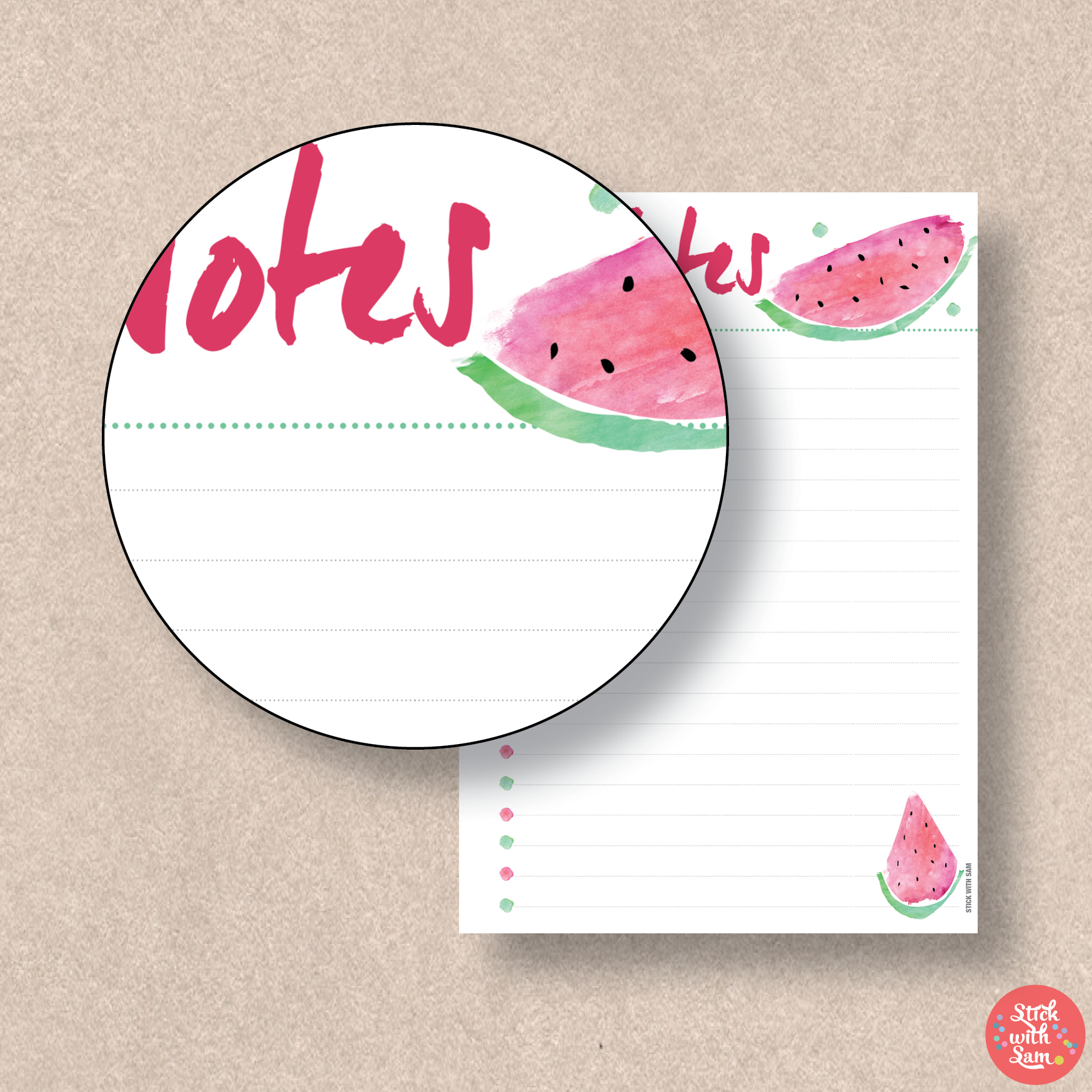 graphic regarding Watermelon Printable called Watermelon Notes Printable Planner