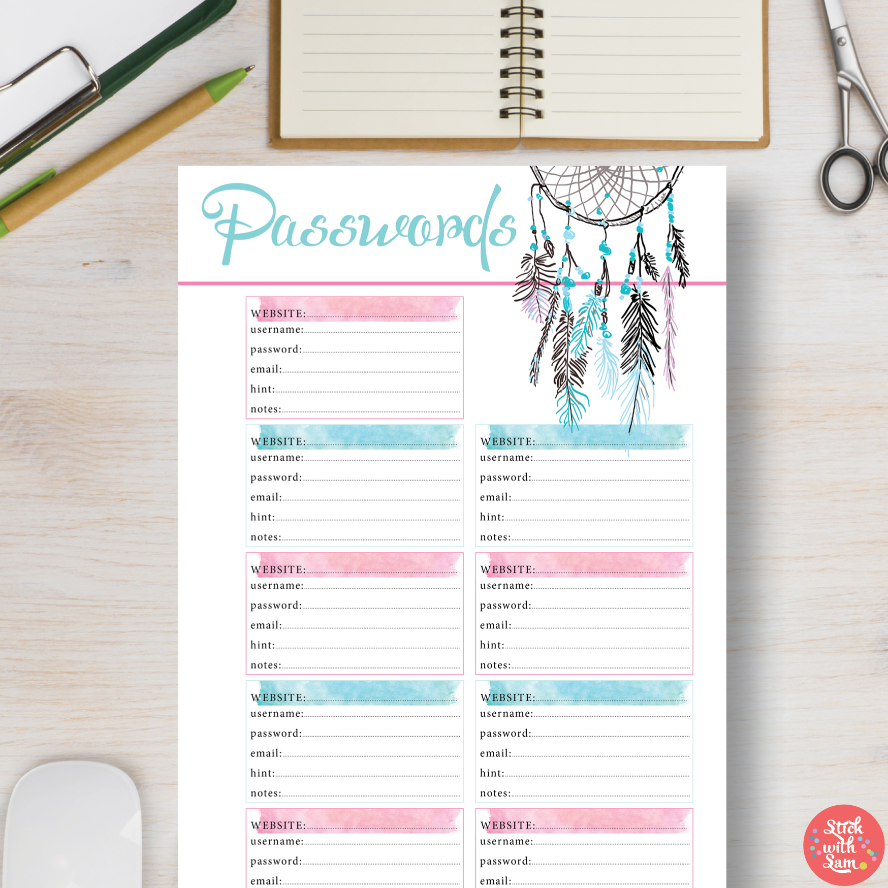 photograph relating to Password Printable titled Dreamcatcher Pword Printable Planner