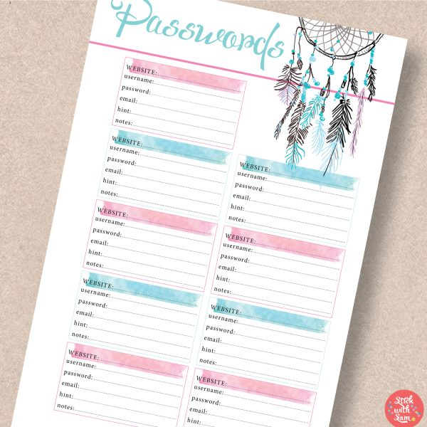 Dreamcatcher Watercolour My Password Printable Planner by Stick with Sam