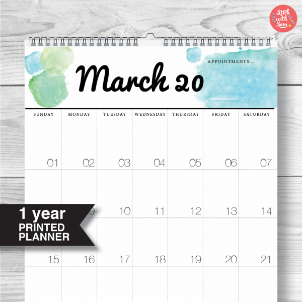 A3 Large Yearly 2020 Calendar Planner