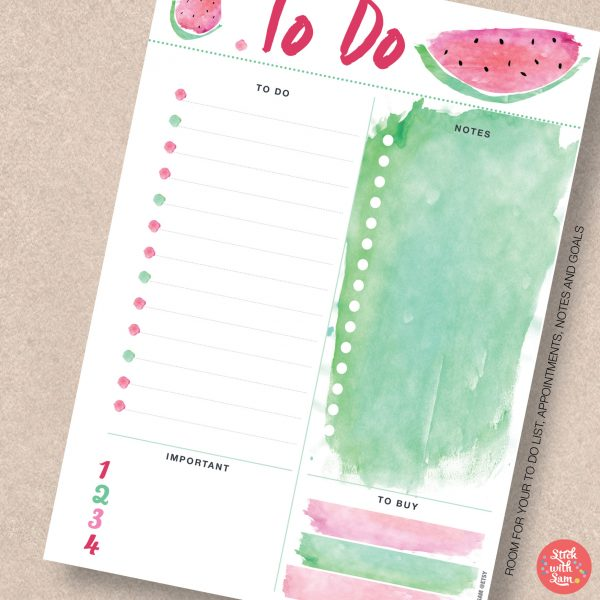 Watermelon To Do Printable Planner by Stick with Sam in A4, A5, Letter, Half page and Personal sizes.