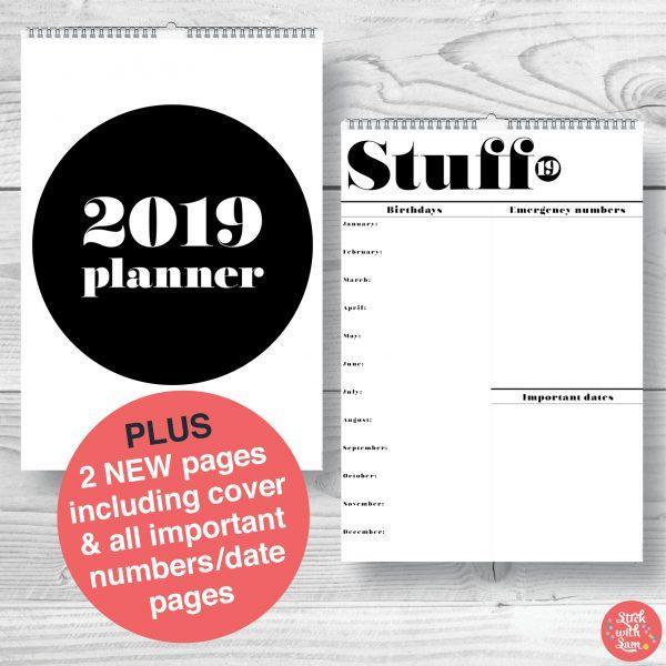 2019 Calendar Wall Black & White - Stick with Sam 908