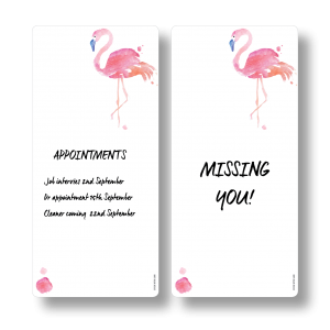 Flamingo Magnetic Fridge Whiteboards by Stick with Sam. DL size. #DE3024.