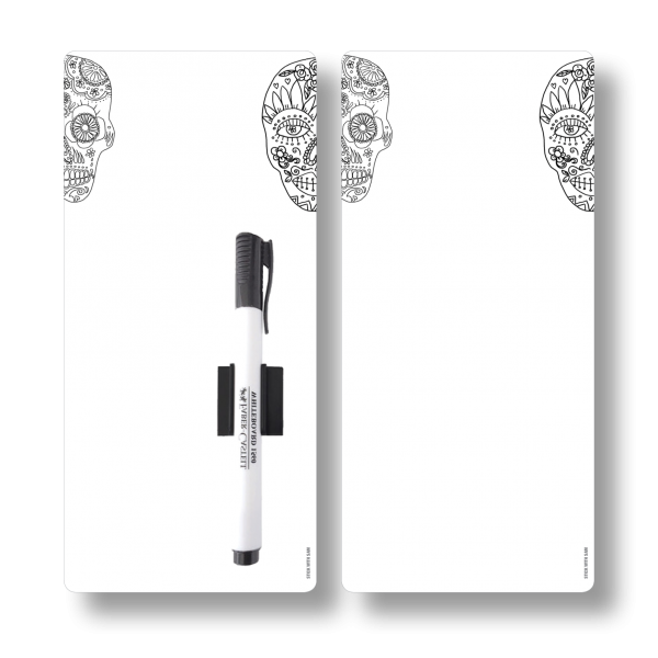 Skull Magnetic Fridge Whiteboards by Stick with Sam. DL size. #DE3027.