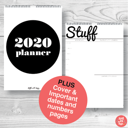 A3 Large Black & White Yearly 2020 Calendar Planner