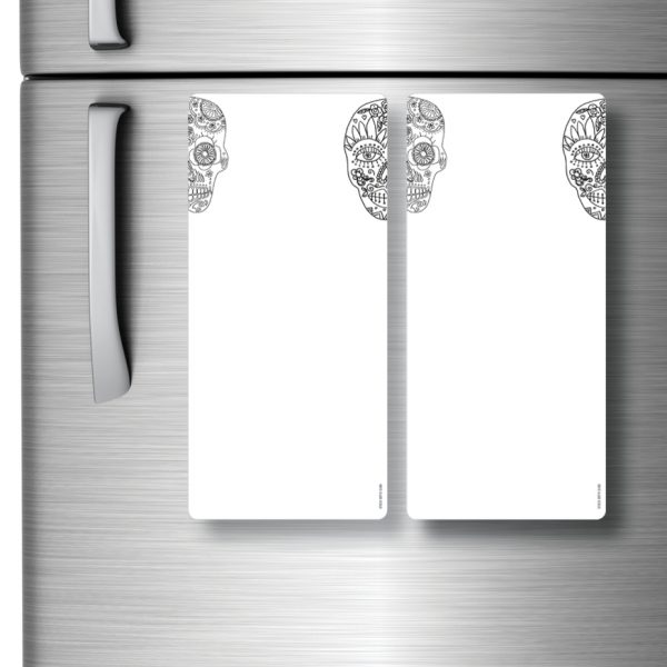 Magnetic Refrigerator Whiteboards Skull x 2
