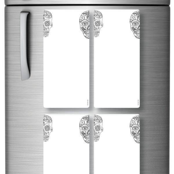 Magnetic Refrigerator Whiteboards Skull x 4