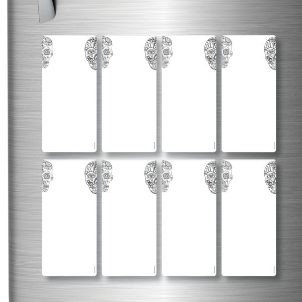 Magnetic Refrigerator Whiteboards Skulls x 8