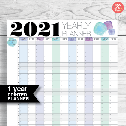 2021 Wall Planner Calendar - Double-Sided by Stick with Sam