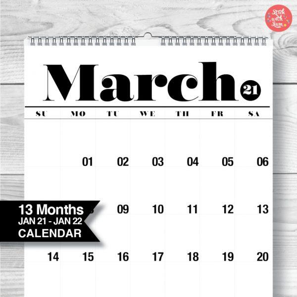 2021 Calendar by Stick with Sam