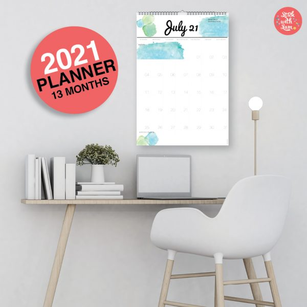 Wall Calendar Planner 2021 by Stick with Sam