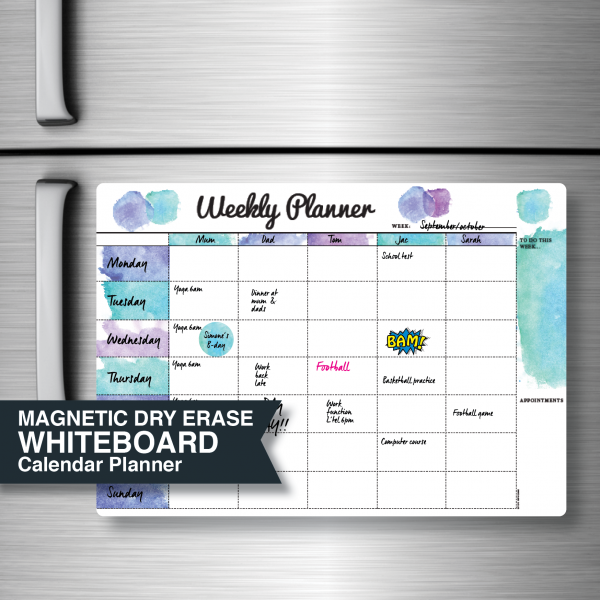 Whiteboard Weekly Planner Australian made